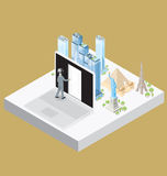 Vector 3d Flat Isometric With Internet Concept Stock Image