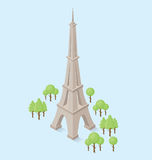 Vector 3d Flat Isometric Monument. Of Eiffel Tower in Paris Royalty Free Stock Image