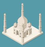 Vector 3d Flat Isometric Taj Mahal Royalty Free Stock Images