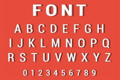 Vector of 3d Font and alphabet. Alphabet and numbers on red background. Vector of 3d Font and alphabet.  Alphabet and numbers on red background Stock Images