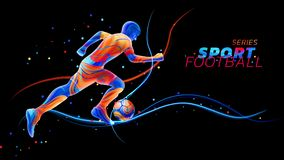 Vector 3d football player with neon light lines isolated on black background with colorful spots. Liquid design with. Colored paintbrush. Soccer illustration stock illustration