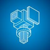 Vector 3d a forma geométrica abstrata, figura poligonal Imagens de Stock