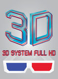 Vector 3D full hd logo Royalty Free Stock Images
