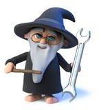 Vector 3d Funny cartoon wizard magician waves his wand at a ticket Royalty Free Stock Images