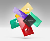 Vector 3d geometric abstract background template. Glossy glass plates Stock Photos