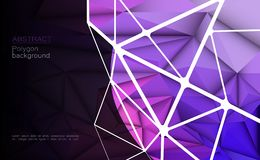 Vector 3D Geometric, Polygon, Line, Triangle pattern shape for wallpaper or background. Illustration low poly, polygonal design Abstract science, futuristic Royalty Free Illustration