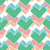 Vector 3D geometric surface seamless vector pattern with heart shapes abstract paneling decor background in green and vector illustration