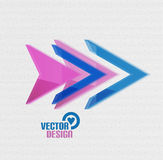 Vector 3d glossy arrow sign template Royalty Free Stock Image