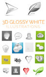 Vector 3d glossy white illustrations. Head and speech bubble and person and cloud, and shield and hexagon background and arrow composition and heart icon and Royalty Free Stock Image