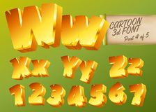 Vector 3D Gold Font in Cartoon Style. Comic Isometric Type. stock illustration