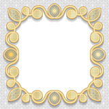 Vector 3D gold frame, festive pattern embossing. Arabic decoration, indian ornament, template greetings, EPS10 Stock Photography
