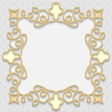 Vector 3D gold frame, festive pattern embossing. Arabic decoration, indian ornament, template greetings, EPS10 Stock Image