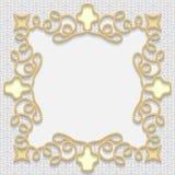 Vector 3D gold frame, festive pattern embossing Stock Image