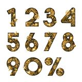 Vector 3d gold numbers. Paper cut arabic numerals. Design for winter sale banner, poster, labels, anniversary cards. Vector 3d gold numbers with stars and Stock Photography