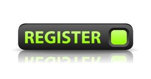 Vector 3D gray web button register. Vector 3D gray web button with green sign register and reflection Royalty Free Stock Photography
