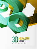 Vector 3d hexagon background. Vector 3d effect hexagon background Royalty Free Stock Photos