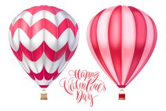 Vector 3d hot air pink red ballons with stripes. Cartoon illustration with lettering for happy Valentine day. Realistic model isol. Ated on white for design and Royalty Free Stock Photo