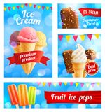 Vector 3D ice cream cafe shop posters banners. Ice cream cafe poster or advertising banner template for shop or gelateria cafeteria. Vector 3D ice cream sweet Stock Images