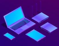 Vector 3d il computer portatile isometrico, router con Wi-Fi illustrazione vettoriale