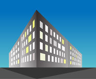 Vector 3d illustration of buildings silhouettes, blue background. Royalty Free Stock Image