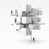 Vector 3D illustration of businessman on the geometric cubes. 3D  backgroud of business people are standing on the geometric cubes Stock Images