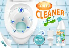 Cool mint toilet cleaner ad vector 3d illustration royalty free illustration