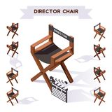 Vector 3d illustration with director chair making movie in isometric style. Various foreshortening, shadows. Backstage filming col. Lection royalty free illustration