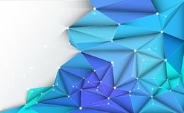 Vector 3D Illustration Geometric, Polygon, Line,Triangle pattern shape with molecule structure. Polygonal with green, blue background. Abstract science Vector Illustration