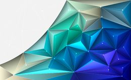 Vector 3D Illustration Geometric, Polygon, Line, Triangle pattern shape with molecule structure. Polygonal with yellow, green, blue background. Abstract Royalty Free Illustration