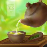 Vector 3d illustration of a tea ceremony. From the kettle filled with hot cup of tasty drink. Teapot, bowl and green tea leaves.  Royalty Free Stock Photos