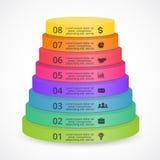 Vector 3D infographic piramidetreden Malplaatje voor kleurendiagram, grafiek, presentatie en grafiek Opstarten van bedrijven vector illustratie