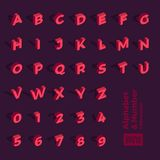 Vector 3d isometric alphabet and number. For design layout graph. Ic or website banner content royalty free illustration