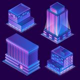 Vector 3d isometric buildings with neon illumination. Vector 3d isometric modern buildings in cartoon style with neon illumination. Urban skyscrapers with light Royalty Free Stock Images