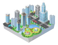 Vector 3d isometric city, cityscape, map of town. Vector 3d isometric city, downtown with modern residential buildings, skyscrapers, roads, park. Cityscape, map vector illustration