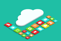 Vector 3d isometric computer cloud infographic Royalty Free Stock Images