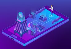 Vector 3d isometric concept with bitcoin mining. Vector 3d isometric bitcoin concept with building, man in suit with case goes to office for mining of Stock Image