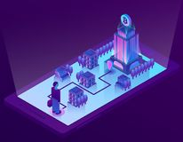Vector 3d isometric concept with bitcoin mining. Vector 3d isometric bitcoin concept with building, office for mining of cryptocurrency on smartphone screen, app Stock Photos