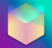 Vector 3d isometric cube with UV light. Simple cube shape royalty free illustration