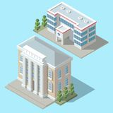 Vector 3d isometric hospital, cartoon ambulance building. Vector 3d isometric hospital, ambulance building with green trees. Cartoon clinic exterior, town Stock Images