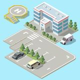 Vector 3d isometric hospital, ambulance with parking. Vector 3d isometric hospital with parking. Helicopter landing strip for ambulance vehicle, aircraft Royalty Free Stock Photography
