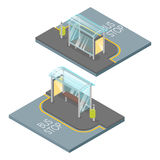Vector 3d isometric illustration of bus stop. Royalty Free Stock Image
