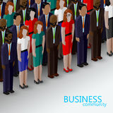 Vector 3d isometric  illustration of business or politics community. A large group of well-dresses business men, women or politicians wearing suits, ties and Stock Photos