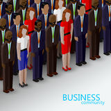 Vector 3d isometric  illustration of business or politics community. A large group of well-dresses business men, women or politicians wearing suits, ties and Royalty Free Stock Photo