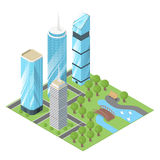 Vector 3d isometric illustration of city buildings and  park. Stock Images