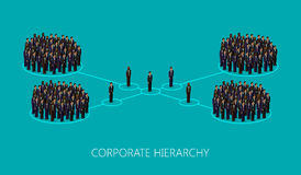 Vector 3d isometric illustration of a corporate hierarchy structure. leadership concept. management and staff organization Stock Photos