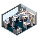 Vector 3D isometric illustration interior office room Stock Images