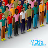 Vector 3d isometric  illustration of male community with a group of guys and men. Royalty Free Stock Images