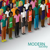 Vector 3d isometric  illustration of society members with a group of men and women. Royalty Free Stock Images