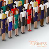 Vector 3d isometric  illustration of women business community.  Royalty Free Stock Photos