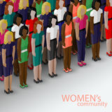 Vector 3d isometric  illustration of women community with a group of girls and women. feminist concept. Vector 3d isometric  illustration of women community with Stock Photos